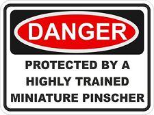 Dog Breed MINIATURE PINSCHER Danger Sticker Pet for Bumper Locker Car Door