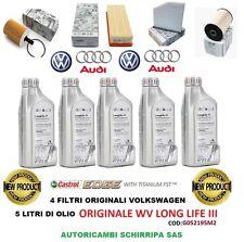 KIT TAGLIANDO OLIO + 4 FILTRI ORIGINALI VW GOLF 5 6 TOURAN PASSAT 1.9 2.0 TDI