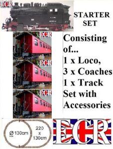 NEW G SCALE RC LOCO & 3 RED COACHES STARTER GARDEN RAILWAY 45mm GAUGE TRAIN SET