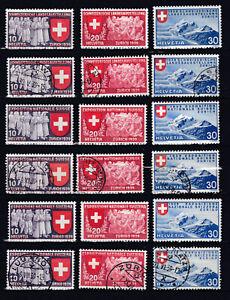 1939 Landesausstellung komplett Mi. 335 - 343 Postfrisch ** und Gestempelt