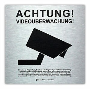 DSGVO+BDSG Datenschutz-Schild Info-Aushang Hinweis Videoüberwachung ALU 10x10cm