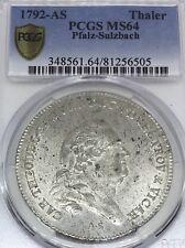 German States Bavaria 1792 AS Taler Coin Thaler PCGS MS 64 F.STG UNC Vicariat