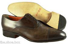 Men's SANTONI 'Stafford' Brown Leather Cap Toe Oxfords Size US 12 - 2E