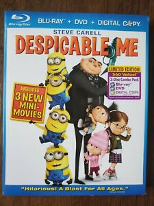 Despicable Me (Blu-ray/DVD, 2010, 3-Disc Set, Includes Digital Copy) Brand New!
