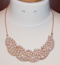 White Pearl & Goldtone Intertwined Woven Bib Necklace - NEW