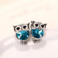 Charming Women Girls Owl Shape Crystal Ear Stud Wedding Gift Earrings Jewelry
