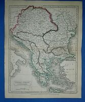 Antique 1829 Dr Butler's Atlas Map TURKEY HUNGARY GREECE Authentic Sidney Hall