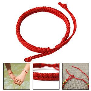 Authentic Tibetan Buddhist Bracelet Knot Lucky Rope Bangle Handmade Red Gift JP