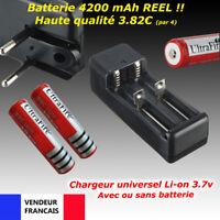 Batterie 18650 ou Chargeur double accu Li-ion 3.7v led torche led cigarette MOD