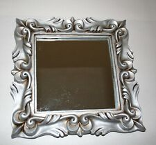 "Mirror Frame Architectural Leaf Motif Deep Relief In Resin Silver 11-3/4"" Square"