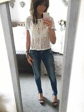 PRIMARK White Lace Look T Shirt Cropped Top Size 8