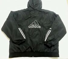 Adidas Mens VTG 90s Quilted Embroidered Logo Black Hooded Coat Size 2XL XXL