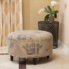 Round Printed Fabric Ottoman