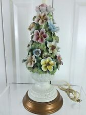 "Capodimonte Style Applied Flower Lamp 30"" Italian"