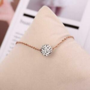 Wishing Ball CZ Titanium Rose Gold White/Red/Champagne Bead Pendant Necklace