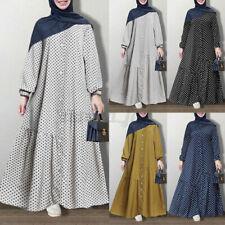 ZANZEA Womens Long Sleeve Polka Dot Abaya Muslim Kaftan Swing Tunic Maxi Dress