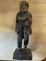 Wood Peasant Farmer Man Sculpture Statue Figure Hand Carved Bread Bare Feet