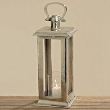 Laterne Windlicht Glaseinsatz 52 cm Alu vernickelt silber antik Look Geschenk