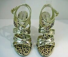 ROBERTO CAVALLI GOLD TONE LEATHER MULTICOLORED ABSTRACT DESIGN HEELS SIZE 39