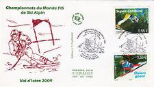 ENVELOPPE 1 er jour timbrée SKI ALPIN VAL D'ISERE 2009 CHAMPIONNATS DU MONDE