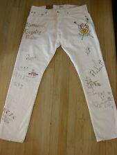Polo Ralph Lauren Sullivan Slim White Denim Jeans Men's Graffiti New York 1967