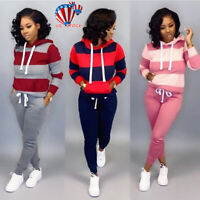 US Women Striped 2Pcs Tracksuit Set Hoodie Sweatshirt+Pants Trousers Lounge Wear