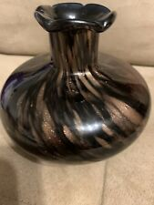 "Art Glass Vase Hand Blown Brown Black Copper Sparkle 4.5"" Tall"