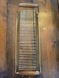 Vtg Record Rack Holder (41)Metal 45 Album Lp Brass Finish Wood Handle 1960s