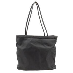 LOUIS VUITTON Handbag triangle logo nylon black