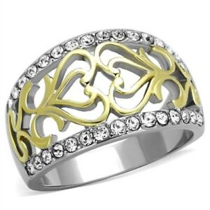 Stainless Steel Filigree Heart Celtic Pave Crystal Cocktail Two-Tone Band Ring