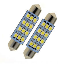 2pcs 42mm Car Dome 3528-SMD 12 LED Bulb Interior Light Festoon White Mini Lamp
