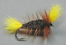 Salmon and Trout Bomber - Black Body - Brown Hackle - Yellow Wings - Size 4
