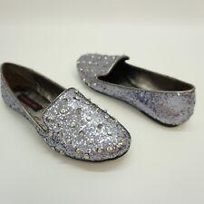 Material Girl Womens Shoe Spike Slip On Ballet Flat Loafer Pewter Dark Silver 5M