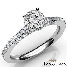 Round Diamond Pave Set Engagement Ring Certified GIA E VS1 18k White Gold 1.37Ct
