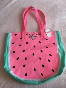 Girls Justice Watermelon Live Logo Pink White Green Canvas Tote Bag Purse w/ Tag