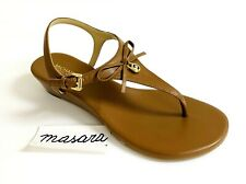 MK Michael Kors Sybil Thong Low Wedge Leather Buckle Up Sandals Luggage