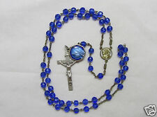 † HTF UNIQUE VINTAGE COBALT BLUE GLASS ROSARY ENAMLED HOLY WATER RELIC PENDANT †