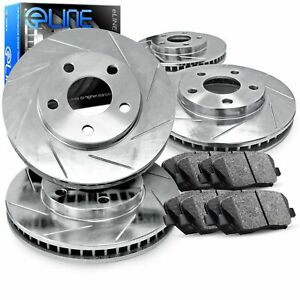 For 1988-1992 Audi 80 Quattro, 90 Front Rear Slotted Brake Rotors + Ceramic Pads
