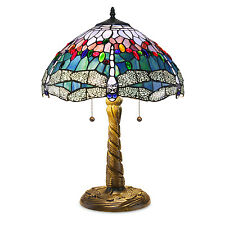 "Tiffany Style Handcrafted Stained Glass Blue Dragonfly Table Lamp 16"" Shade"