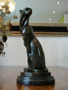 Bronze + Marmor Statue Jaguar Gepard Leopard Panther Puma Tiger Löwe Figur Edel