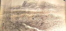 Vintage Korean Original Painting (Landscape of sea and  Reed fields)