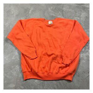 HANES HER WAY 90s VTG nwot Raglan Sweatshirt Made USA 50/50 Orange L Blank Plain