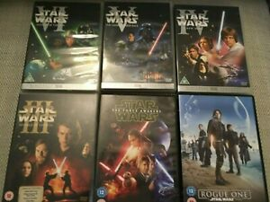 6 x Star Wars Films Bundle dvds movies/films region 2 - pal boxed and complete
