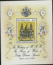 Princess Diana Royal Wedding Mint NH Barbuda Souvenir Sheet 1981 #496 St Paul's