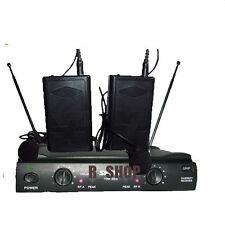 PRO DUAL UHF LAPEL LAVALIER WIRELESS CORDLESS MIC MICROPHONE SYSTEM