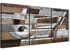 3 PEZZI Marrone Beige Bianco DIPINTO CAMERA DA LETTO ARTE in Tela-ASTRATTO 3407 - 126 cm