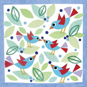 Oopsy Daisy Birds and Blueberries Stretched Canvas Art by Gale Kaseguma, 21 by 2