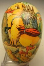 Vtg Easter Paper Mache Egg Yellow Duck w/ Chicks 4 ½� long West Germany 1960's