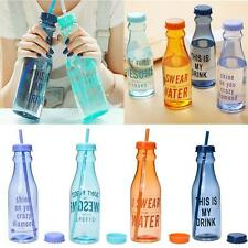 1x Portable Sport Travel Plastic Water Bottle Fruit Juice Cup with Straw SPUS BT