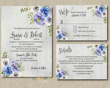 Personalized Blue Floral Peonies Wedding Invitations Suite with Envelopes